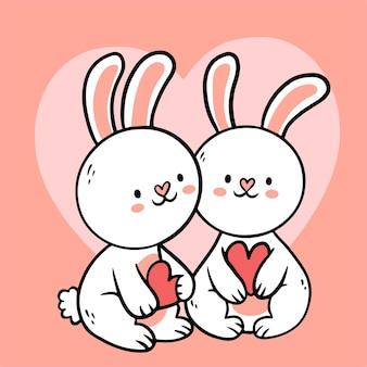 Grand couple d'animal de dessin animé dessiné main isolé dessin animé amoureux, style doodle illustration plate de concept de saint-valentin