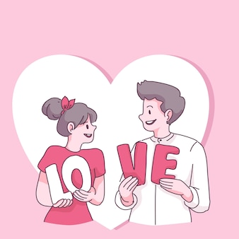 Grand couple isolé amoureux, heureuse jeune fille et garçon amoureux