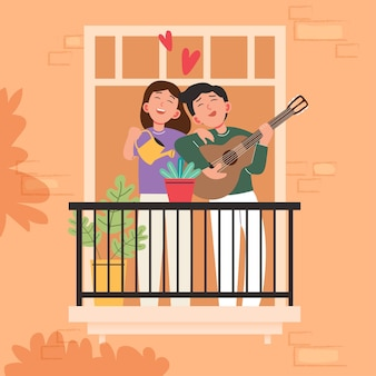 Grand dessin animé isolé de jeune fille et garçon amoureux, partage de couple et amour attentionné, jouant de la guitare illustration 3d