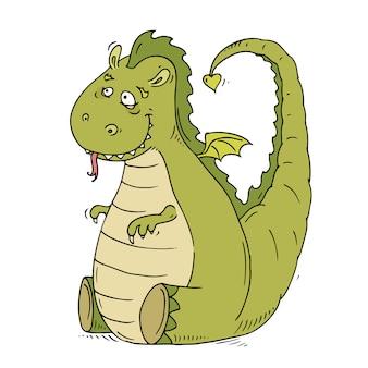 Grand dragon gentil de dessin animé mignon