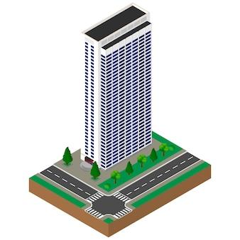 Grand edifice. gratte-ciel. isométrique.