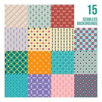 Grand ensemble de 16 motifs pixelés colorés. style enfantin. utile pour l'emballage et la conception textile.