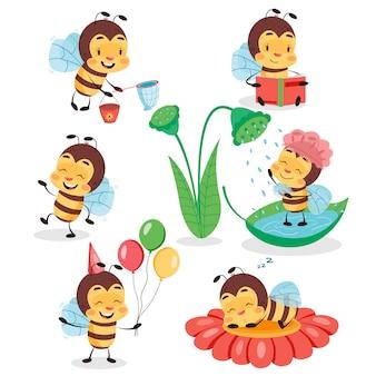 Grand ensemble d'abeilles mignonnes sur fond isolé blanc. illustration de conception de caractère enfants abeille.
