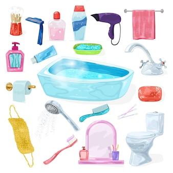 Grand ensemble avec accessoires intérieurs de salle de bain