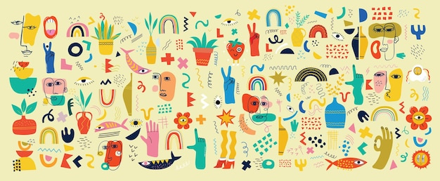 Grand ensemble d'affiches d'illustration vectorielle de différentes couleurs au design plat de dessin animé. formes abstraites dessinées à la main, personnages comiques drôles.