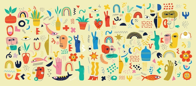 Grand ensemble d'affiches d'illustration vectorielle de différentes couleurs au design plat de dessin animé. formes abstraites dessinées à la main, personnages comiques mignons et drôles.