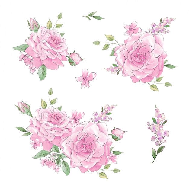 Un grand ensemble d'aquarelles roses tendres super qualité.