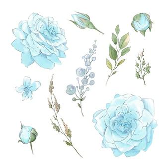 Un grand ensemble d'aquarelles roses tendres super qualité.