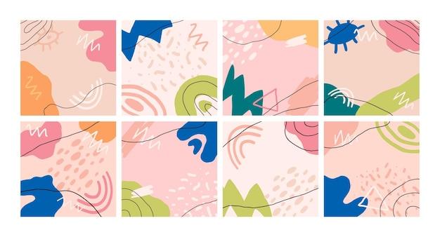 Grand ensemble d'arrière-plans abstraits formes dessinées à la main conception de vecteur pour le blog de publication de médias sociaux