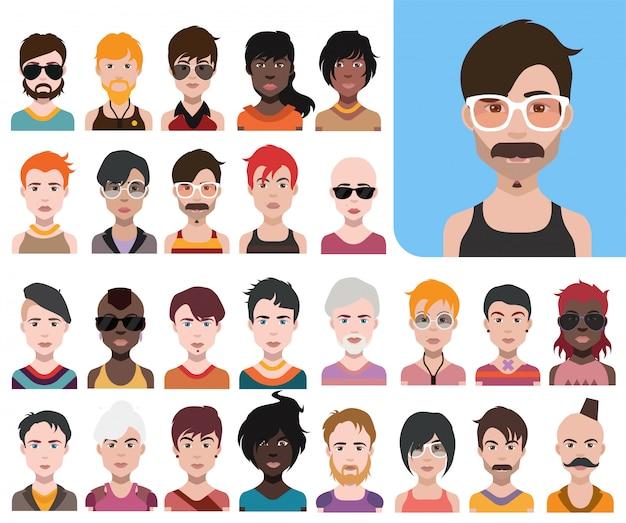 Grand ensemble d'avatars de personnes dans un style plat vector femmes, hommes avec fond de couleur