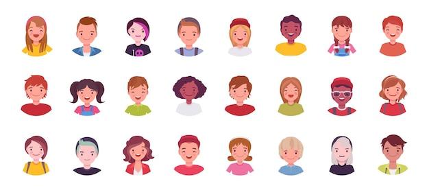 Grand ensemble d'avatars pour adolescents et enfants