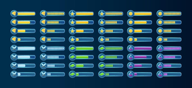 Grand ensemble de barre de progression de l'interface utilisateur du jeu fantastique