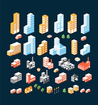 Un grand ensemble de bâtiments, bâtiments et transports isométriques.
