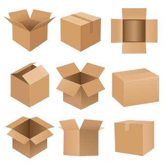 Grand ensemble de boîte de recyclage de dessin animé