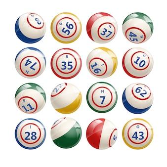 Grand ensemble de boules de bingo de loterie