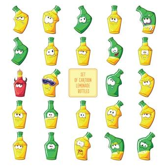 Grand ensemble de bouteille de bière ou de limonade de dessin animé.