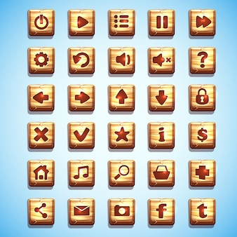 Grand ensemble de boutons carrés en bois pour l'interface utilisateur des jeux informatiques et de la conception web