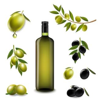 Grand ensemble avec des branches d'olives et avec de l'huile d'olive vierge dans une bouteille en verre