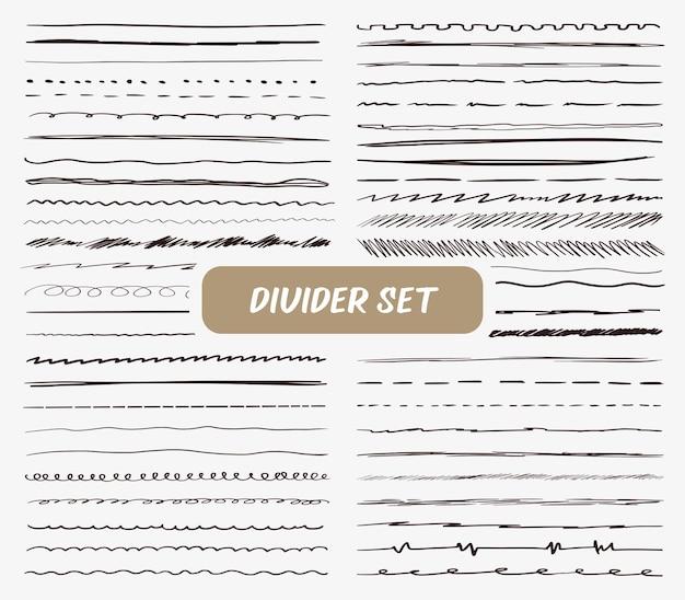 Grand ensemble de brosses de diviseurs de dessin à la main et stylo dans le style de ligne