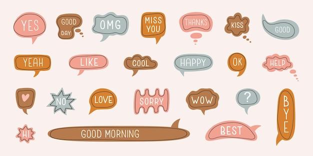 Grand ensemble de bulles colorées de dessins animés avec des boîtes de dialogue avec des phrases