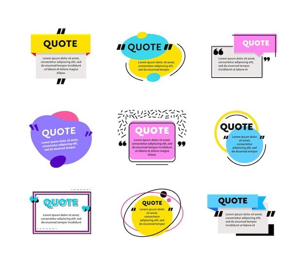 Grand ensemble de cadres de boîte de citation pour les sms et les messages. modèles vierges de couleur pour la conception d'informations de texte. symboles de blog de bulle de citation. éléments créatifs pour l'autocollant d'étiquette de bannière. illustration vectorielle de dessin animé
