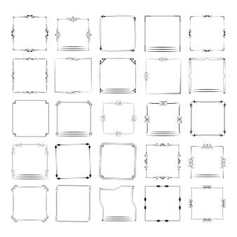 Un grand ensemble de cadres de différentes formes. jeu d'images vectorielles