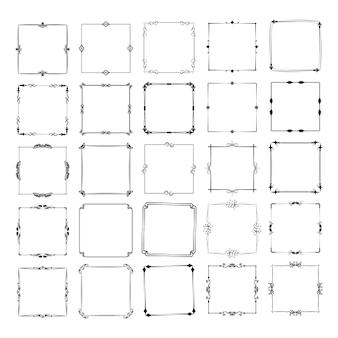 Un grand ensemble de cadres de différentes formes