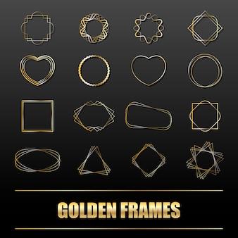 Grand ensemble de cadres en métal doré