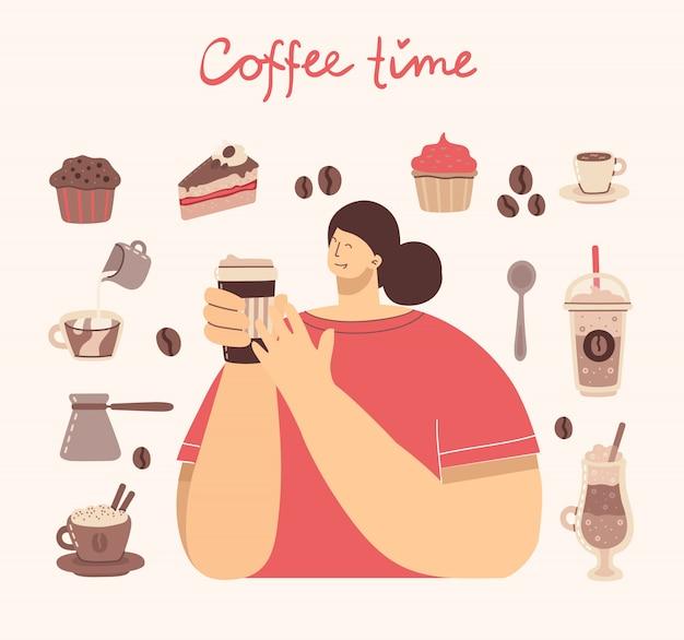 Grand ensemble de cafetière, tasse, verre, moulin à café autour de la femme avec une tasse de style art café sur fond.