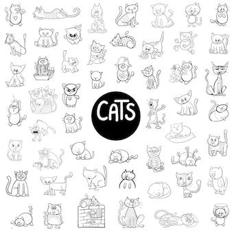 Grand ensemble de chats noirs et blancs