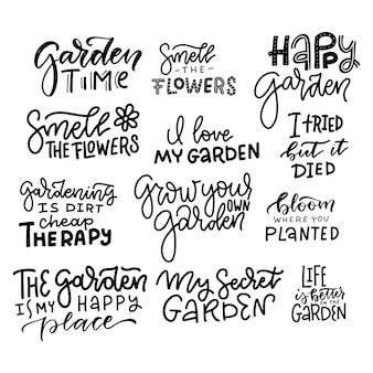 Grand ensemble de citations de jardinage de lettrage à la main