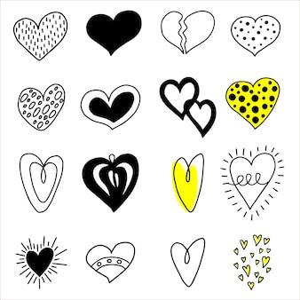 Grand ensemble de coeurs dessinés à la main.