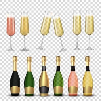 Grand ensemble de collection de verre à champagne 3d réaliste et bouteille