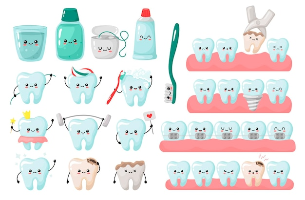 Un grand ensemble de concepts de dents kavai retrait nettoyage implantation accolades alignement des dents vecto
