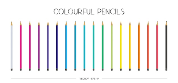 Un grand ensemble de crayons de couleur réalistes. illustration.