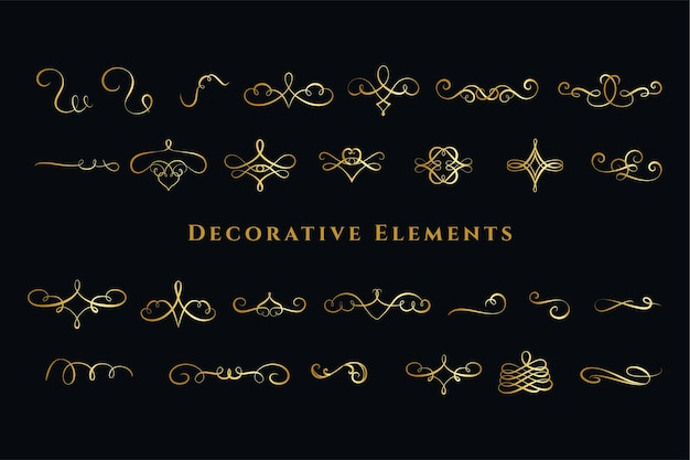 Grand ensemble de décorations d'ornements de tourbillons calligraphiques