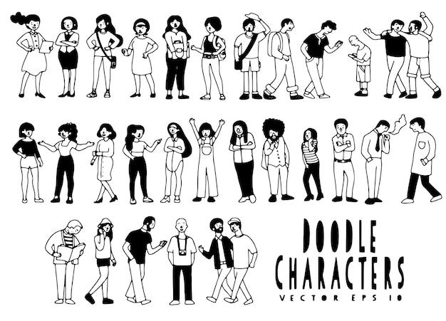Grand ensemble de dessin animé mignon et caractères.