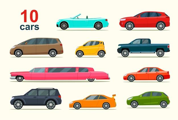 Grand ensemble de différents modèles de voitures. illustration vectorielle