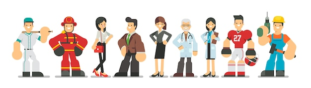 Grand ensemble de différents personnages de profession dans un style plat. hommes et femmes de différentes carrières et emplois debout ensemble, illustration.
