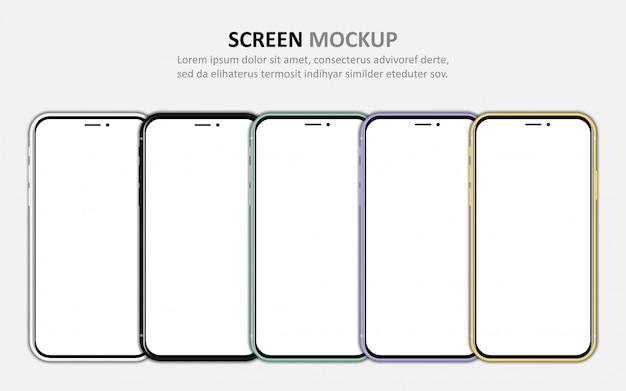 Grand ensemble de différents smartphones avec écran blanc.