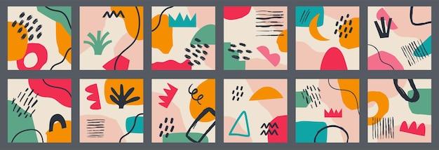 Grand ensemble de divers arrière-plans abstraits géométriques vectoriels. diverses formes, lignes, taches, points, objets de griffonnage. modèles dessinés à la main. icônes rondes pour les histoires de médias sociaux