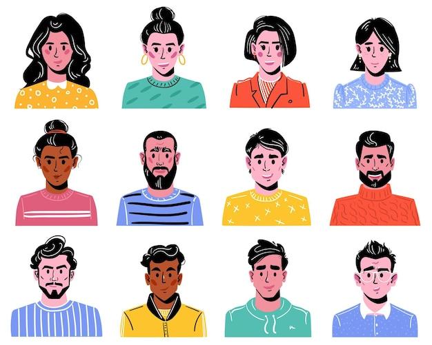 Grand ensemble de diverses têtes de garçons et de filles personnages colorés d'hommes et de femmes