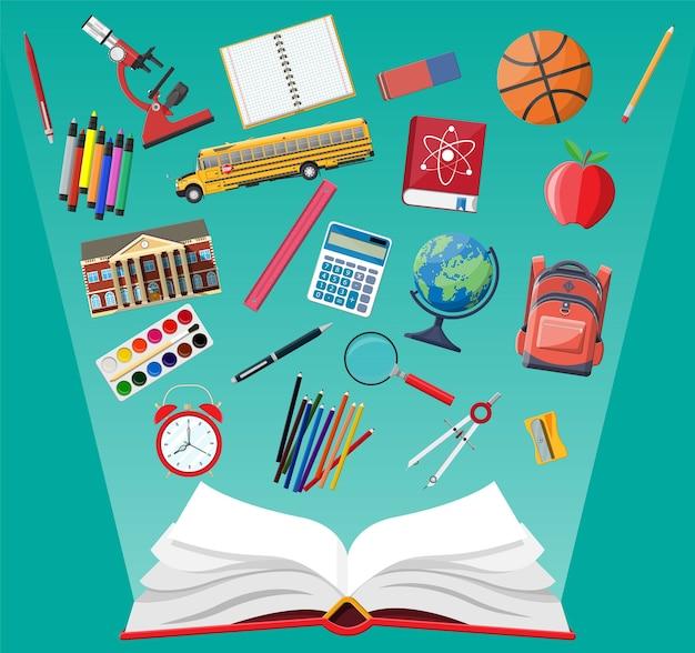 Grand ensemble d'école. différentes fournitures scolaires, papeterie. note globe peinture crayon stylo calculatrice sac à dos horloge livre boule pomme bâtiment règle de bus scolaire atome.