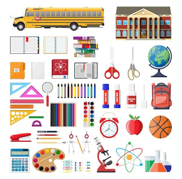 Grand ensemble d'école. différentes fournitures scolaires, papeterie.