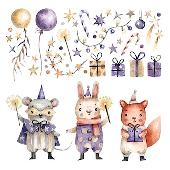 Grand ensemble élégant d'animaux mignons en costumes de carnaval, ballons, cadeaux et étoiles peints à l'aquarelle.