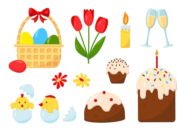 Grand ensemble d'éléments de conception pour les vacances de pâques.