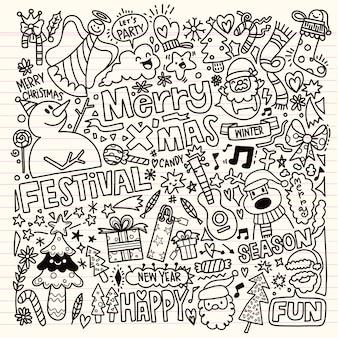 Grand ensemble d'éléments de design de noël dans un style doodle