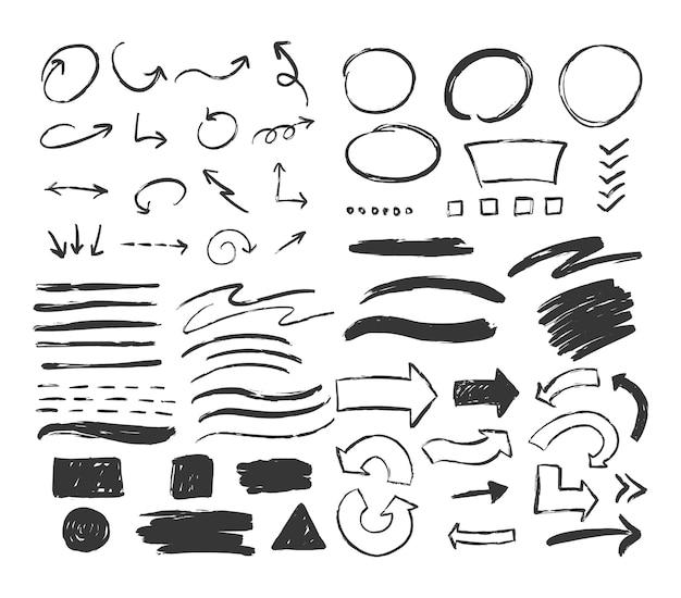 Grand ensemble d'éléments différents dessinés à la main cercles flèches frottis carrés vecteur