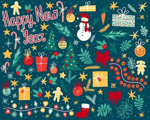 Grand ensemble d'éléments festifs pour la célébration du nouvel an d'hiver ou la décoration de noël