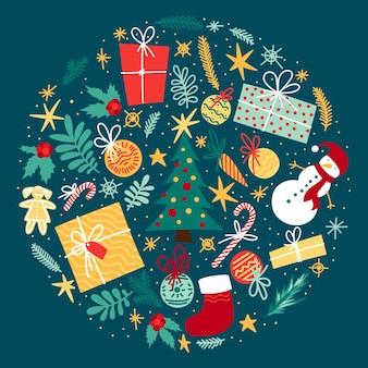 Grand ensemble d'éléments festifs pour la célébration de l'hiver